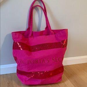 Victoria's Secret sequin tote bag.